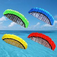 Dual Line 2.5m/8.20ft Parachute Kites Flying Rainbow Sports Beach Stunt Handle Ripstop Nylon Kitesurf Outdoor Sport Children Gif