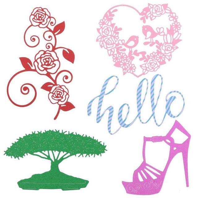 Flowers birds wreath high heels shoes cutting dies wedding crafts flowers birds wreath high heels shoes cutting dies wedding crafts card invitations template metal steel embossing maxwellsz