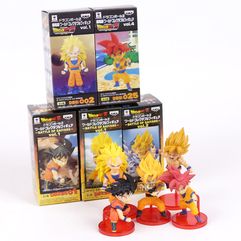 где купить Dragon Ball Z Super Battle of Saiyans Son Goku PVC Figures Collectible Model Toys 5pcs/set 8cm 2 Styles по лучшей цене