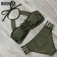 RUUHEE Bikini Swimwear Women Swimsuit Halter Bikini Set 2018 Sexy Multi Strap Bathing Suit Push Up
