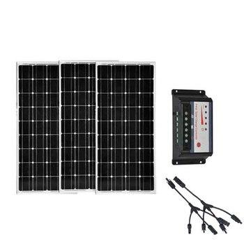 Solar Kit 300w 36v Placa Fotovoltaica 12v 100w 3 Pcs Solar Charge Controller 30A Batterie Solaire Motorhome Caravan Camping