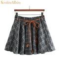 autumn winter women brand girls A-line skirts schoolgirls plaid skirt Woolen Thickening A-line pleated mini skirt with belt