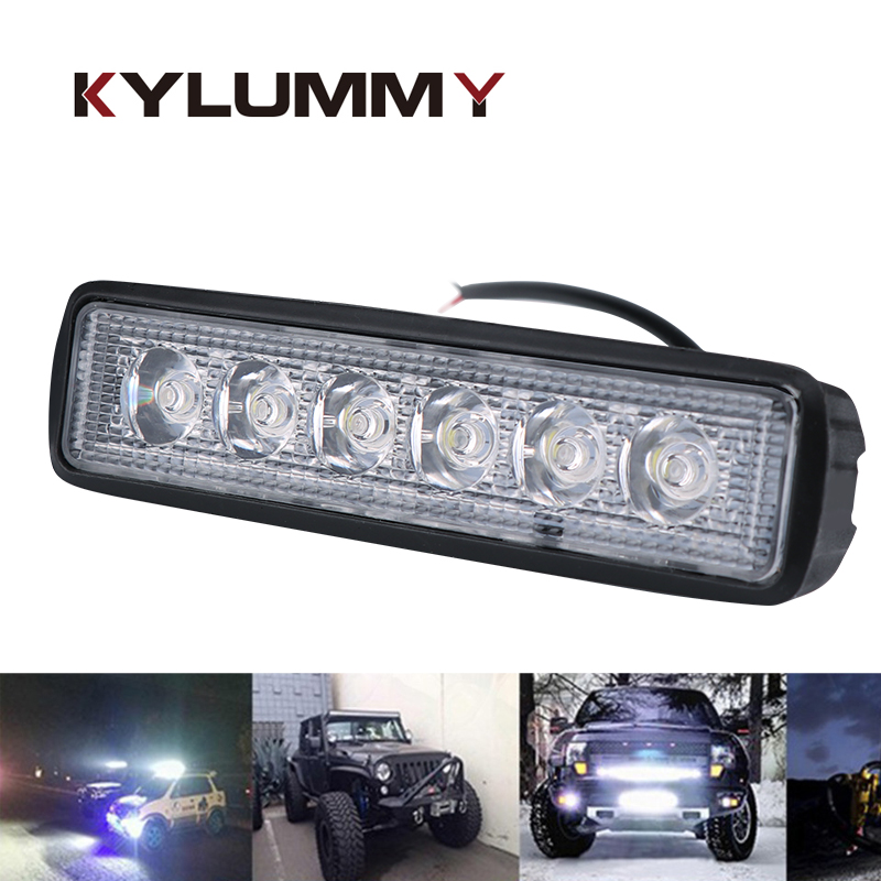 KYLUMMY Car LED Work Light Bar Spotlight Lamp 18W 12V Driving Fog Offroad Work Car Light for Ford Toyota SUV 4WD LED beams 7inch 18w with cree chip led car work light bar 4wd spot fog atv suv driving lamp led bar for offroad tractor driving lamp