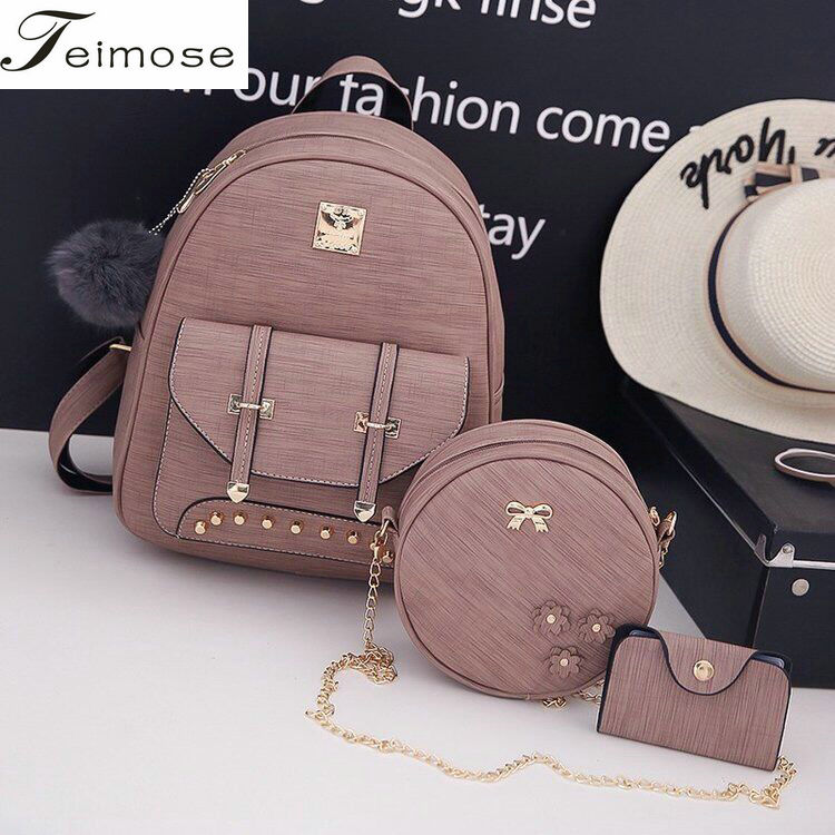 3Pcs/Set Hot sales Small Women Backpacks female 2018 School Bags For Teenage Girls Black Bags Letter Sac A Dos Pu Leather Bag