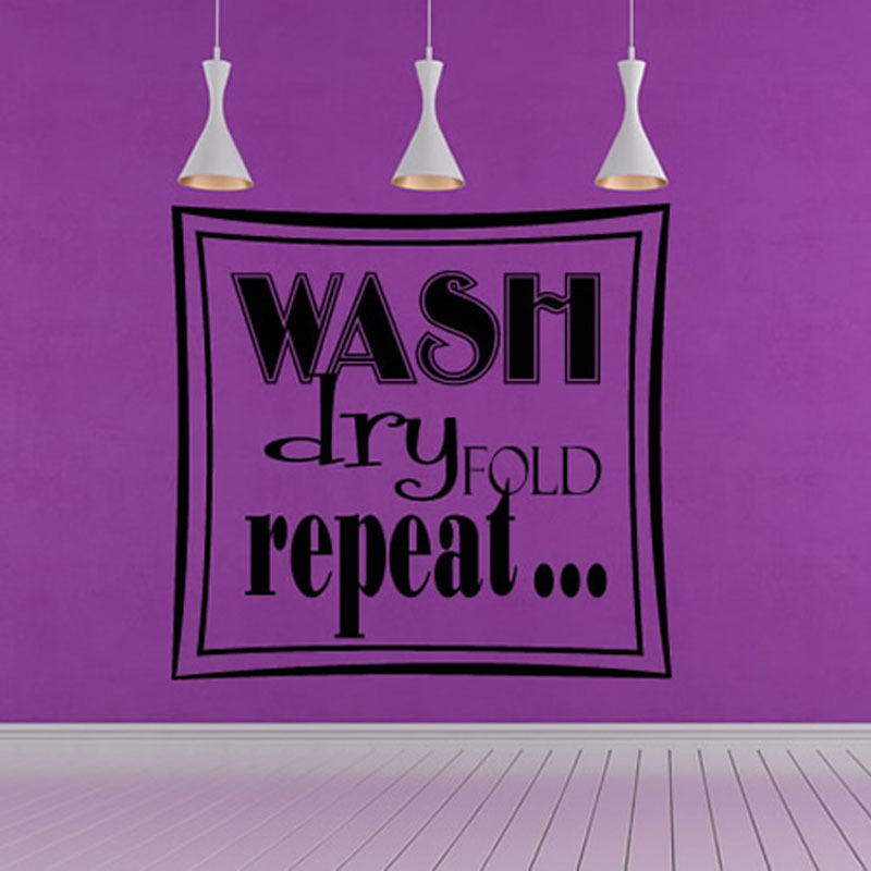 Wash Dry Fold Repeat Square Art Words Wall Pictures Home Decor Hollow Out Removable Vinyl Wall Sticker For Laundry