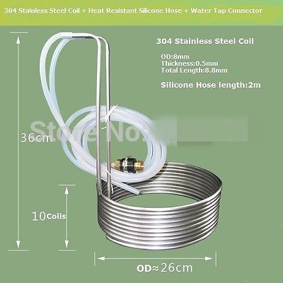 8.8M Stainless Steel Coil Cooler Wort Immersion Chiller Beer Brewing Equipment stainless steel beer chiller stick wine beverage cooler