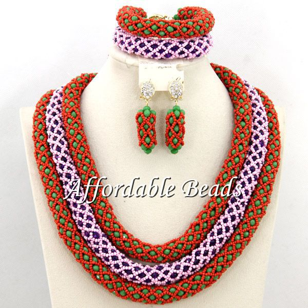 Luxury African Jewelry Bead Set Charming Nigerian Bead Set New Arrival Free Shipping BN211Luxury African Jewelry Bead Set Charming Nigerian Bead Set New Arrival Free Shipping BN211