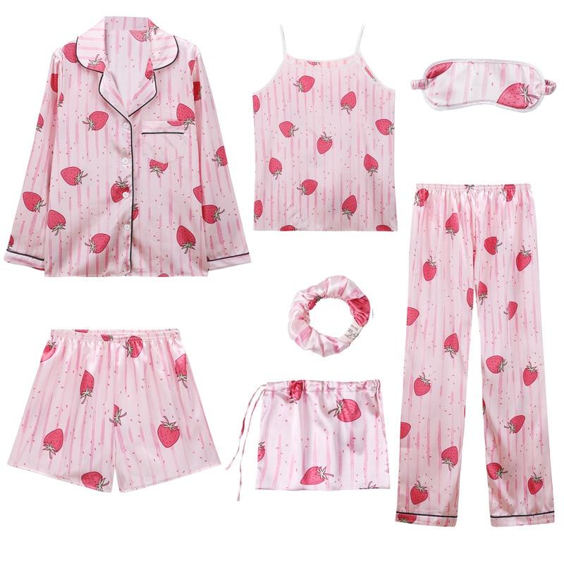 2020Spring Sexy Pijama Set 7 Pieces Pajamas Sets For Sleepwear Clothes Pyjamas Women Home Suit Pijamas Women Nightwear Sleepwear
