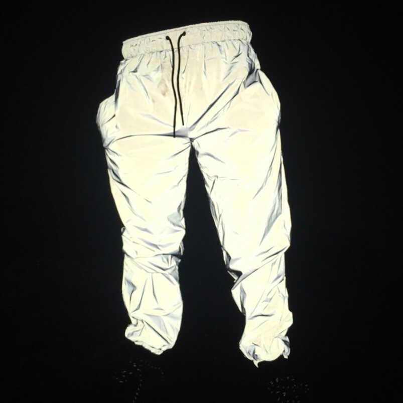 反射パンツ男性 2017 ブランドヒップホップダンス蛍光ズボンカジュアル原宿ナイトスポーツジョガーパンツグレー