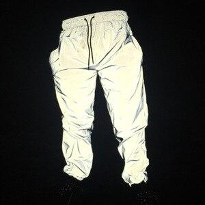Image 4 - Reflective Pants Men 2017 Brand Hip Hop Dance Fluorescent Trousers Casual Harajuku Night Sporting Jogger Pants Gray