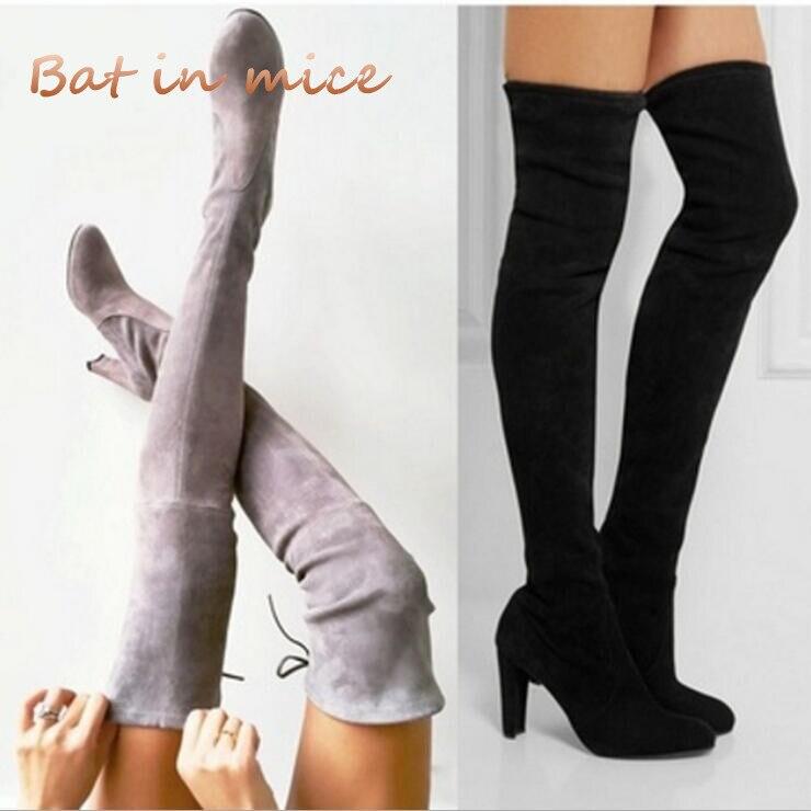Ботинки с зауженным мысом пикантные Сапоги выше колена туфли-лодочки на высоких каблуках женские зимние сапоги с Вышивкой Модные женские з... ...