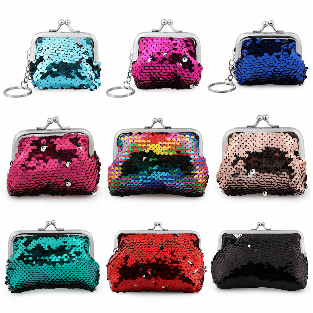 New Fashion Sequins Hasp Mini Wallet Clutch Pouch Portable Women Sequins Coin Purses Handbags Card Holder Keys Earphone Bags
