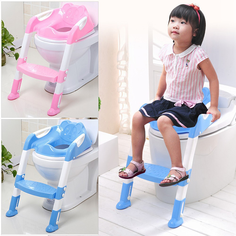 US Adjustable Height Feet Kids Potty Training Seat with Ladder for Child Toddler