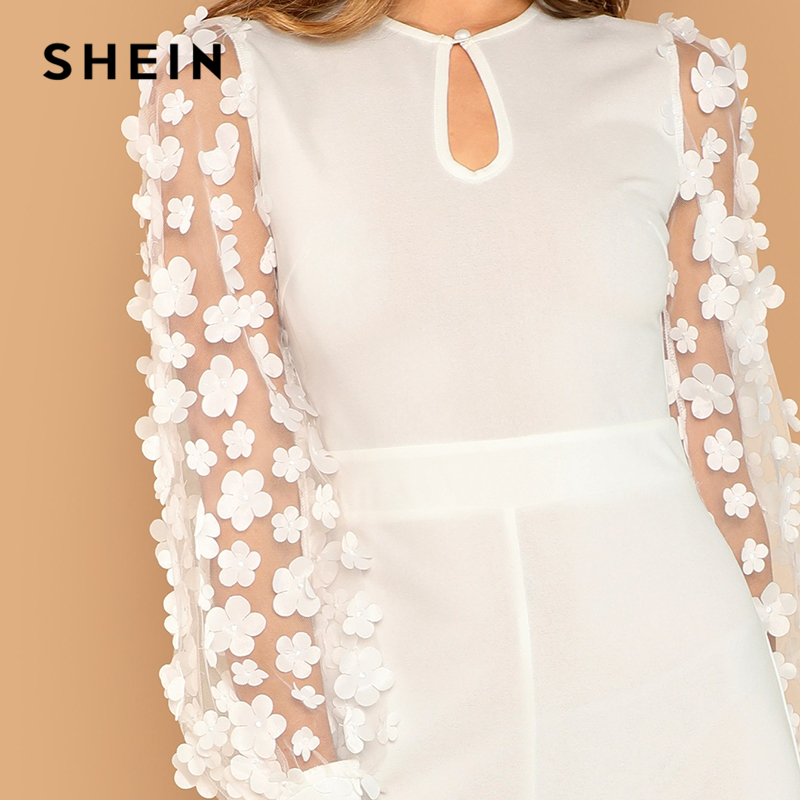 16fadc19468 SHEIN White Elegant 3D Applique Sheer Sleeve Keyhole Front Jumpsuit Women  Autumn Zipper Button Wide Leg Maxi Culottes Jumpsuits-in Jumpsuits from  Women s ...