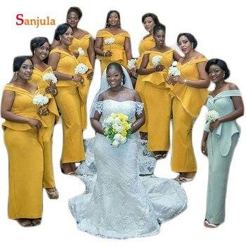 Gold Satin Long Bridesmaid Dresses Sweetheart Off the Shoulder African Wedding party Dress for Women Ruffles Waist D430