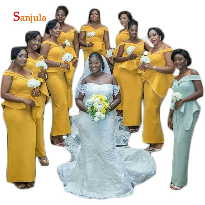 Gold Satin Long   Bridesmaid     Dresses   Sweetheart Off the Shoulder African Wedding party   Dress   for Women Ruffles Waist D430