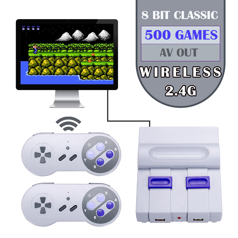 2018 New Wireless Mini Classic Retro Handheld Game Console TV Game Player With 500 Games ,AV out-in Handheld Game Players from Consumer Electronics