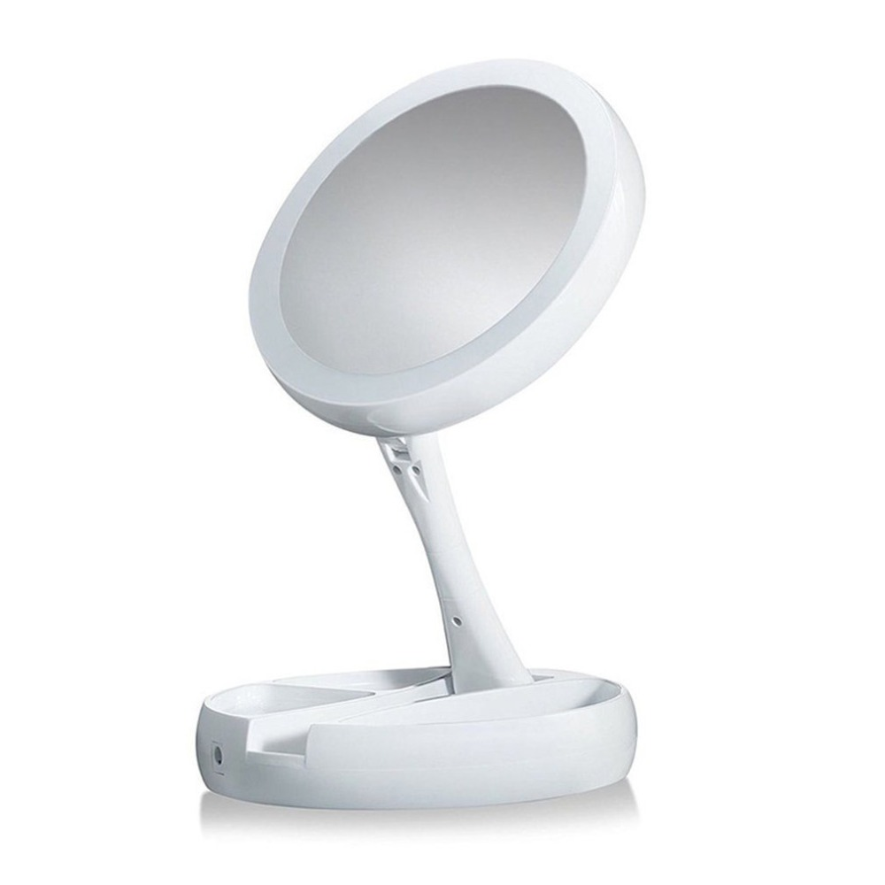 Double-sided LED Makeup Light Desk Makeup Mirror 360-Degree Rotation Desktop Lighted Mirror Folding Cosmetics Storage Mirror