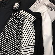 6b7598286db 2018 New Black White Striped Long Sleeve T Shirts Women Loose T-shirt  Womens Female