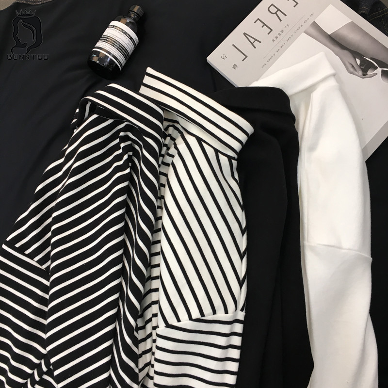 2018 New Black White Striped Long Sleeve T Shirts Women Loose T-shirt Womens Female Fashion Korean Style School Students Females