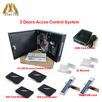 Two Doors Access Control System ZK ZK C3 200 Door Access Controller With Card Reader And EM lock Smart Card Access Control