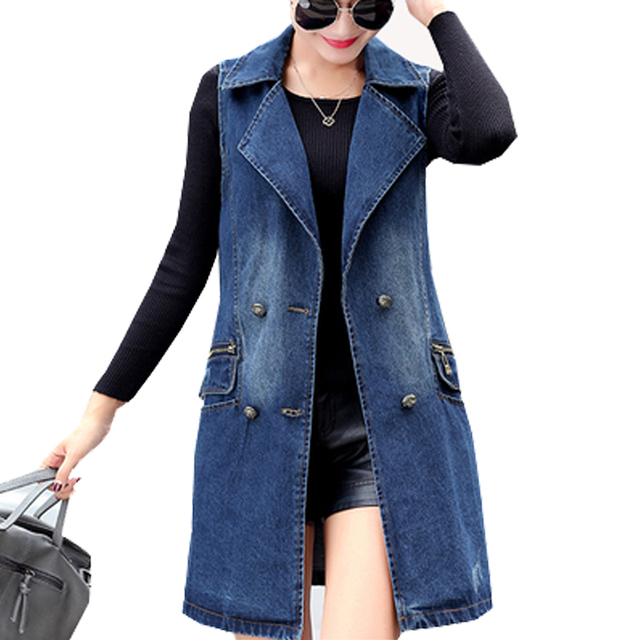 00cabb52d069cd Women Long Denim Vest Coat Nice New Spring Fashion Vintage Washed Double  Breasted Sleeveless Jeans Jacket