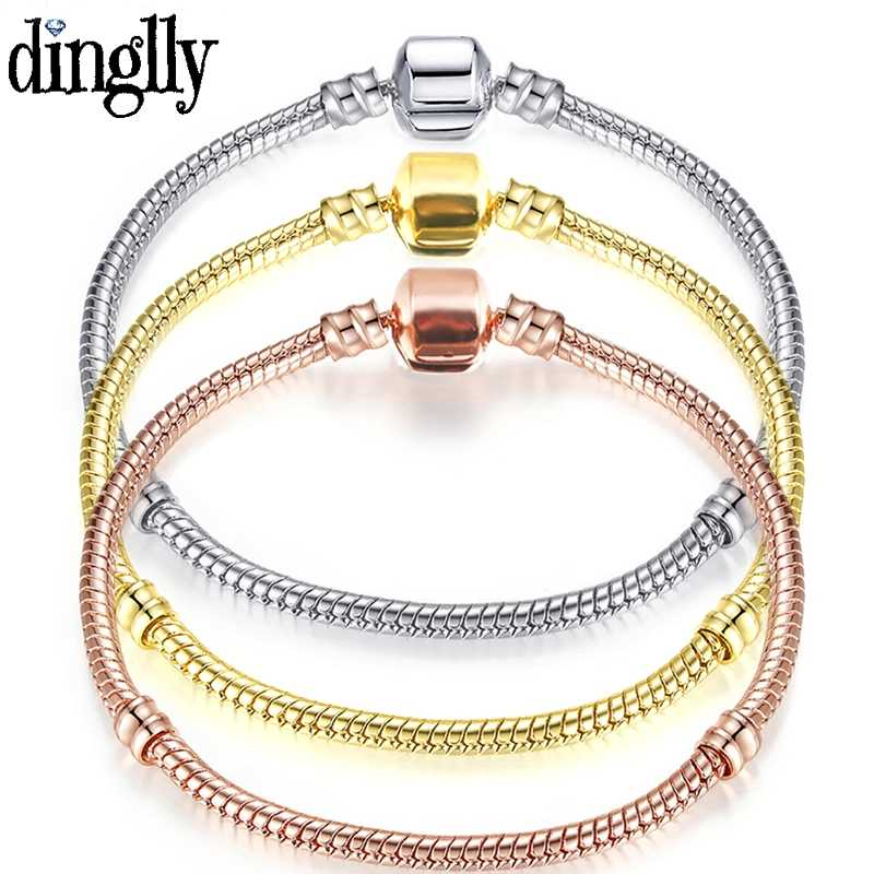 DINGLLY 925 Fashion Silver Rose Gold Golden Bracelet Snake Chain Fit Original Bracelet Bangles For Men Women Couples Lover Gift