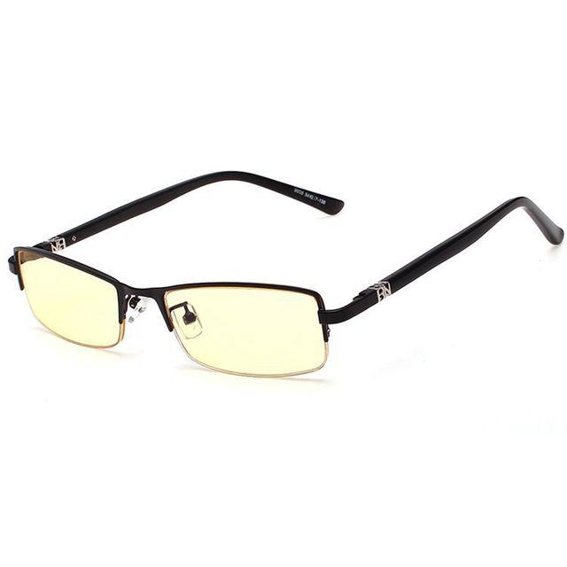 Alta Qualidade Aro Fino Computador Óculos Homens Grife Amarelo Lente Anti Blue Ray Radiação Jogos Óculos Óculos Sem Aro