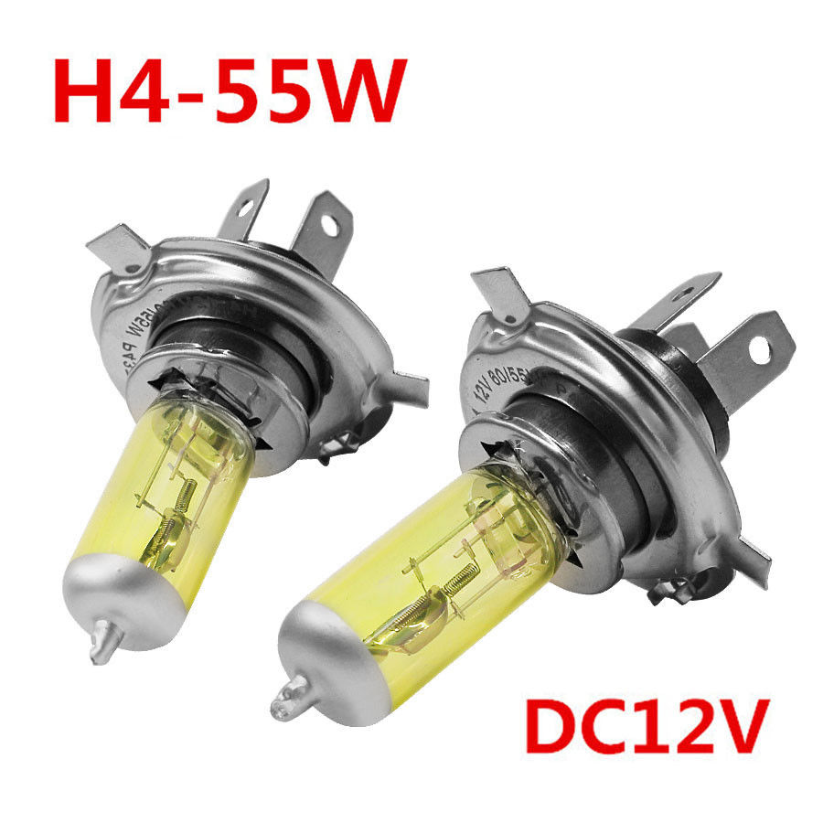 2x DC 12V H4 55W 5000K 6A Yellow Car Headlight Lamp Bulbs Waterproof And Vibration Resistant