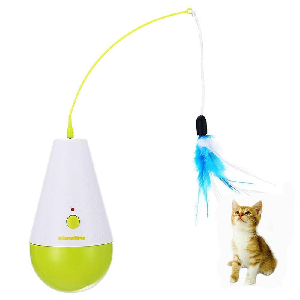 Jouet de chat pour animaux de compagnie 360 degrés contrôle électrique gobelet plumes tourne-disque jouets chats chaton Scratcher formation jouet interactif