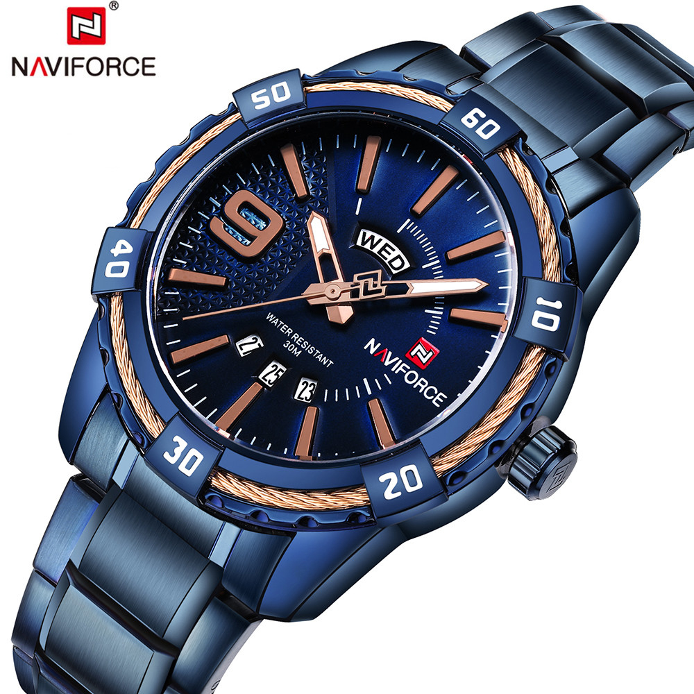 NAVIFORCE Luxury Brand Mens Quartz Watch Casual Date Display Sport Watches Men Business Wristwatch Male Clock Relogio Masculino mens watches naviforce fashion casual sport male watch dual display clock man army military quartz wristwatch relogio masculino