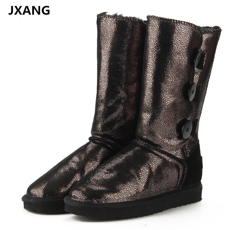 JXANG New 100% Natural Fur Winter Boots Mujer Botas Waterproof Genuine Cowhide Leather Snow Boots Warm Wool High Boots for Women nemaone 2017 genuine leather snow boots winter shoes for women new arrival 100% real fur classic mujer botas waterproof