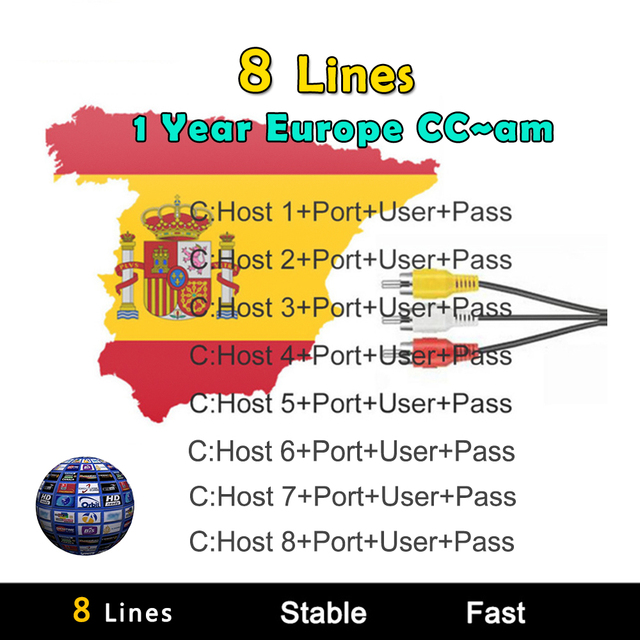 8 Lines Europe 1 Year Cccam Europe Lines HD AV Cable For Satellite Receiver DVB-S/S2 Openbox V7 V8 Super And Others