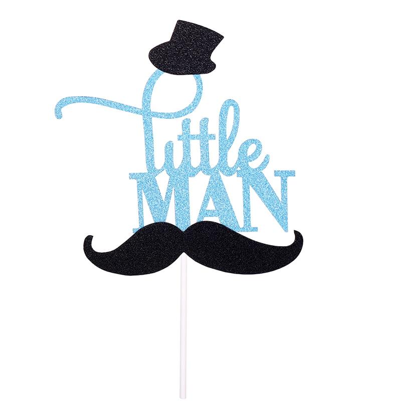 Rainlemon(TM) Glitter Blue Mustache Little Man Cake Topper