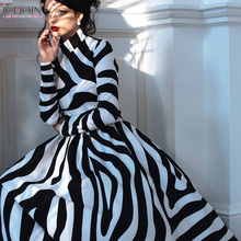 ICHOIX Autumn dress women Elegant Long Dress Vintage Zebra Print Striped Female Office Women Evening Party Maxi Dresses
