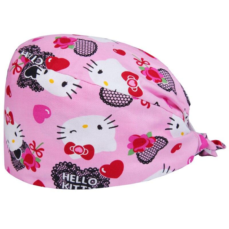 Cute Cat Women's Surgical Scrub Cap Medical Nurse Hat OR Surgeons Chemo Patients Work Hats 100% Cotton Tieback Surgeon's Caps