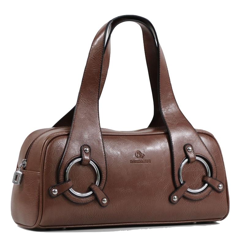 Vrouwen lederen Handtas Tas Mode Retro Kussen Tas Designer Boston Tote Bag dames schoudertas Kwaliteit Gegarandeerd 11301-in Top-Handle tassen van Bagage & Tassen op  Groep 1