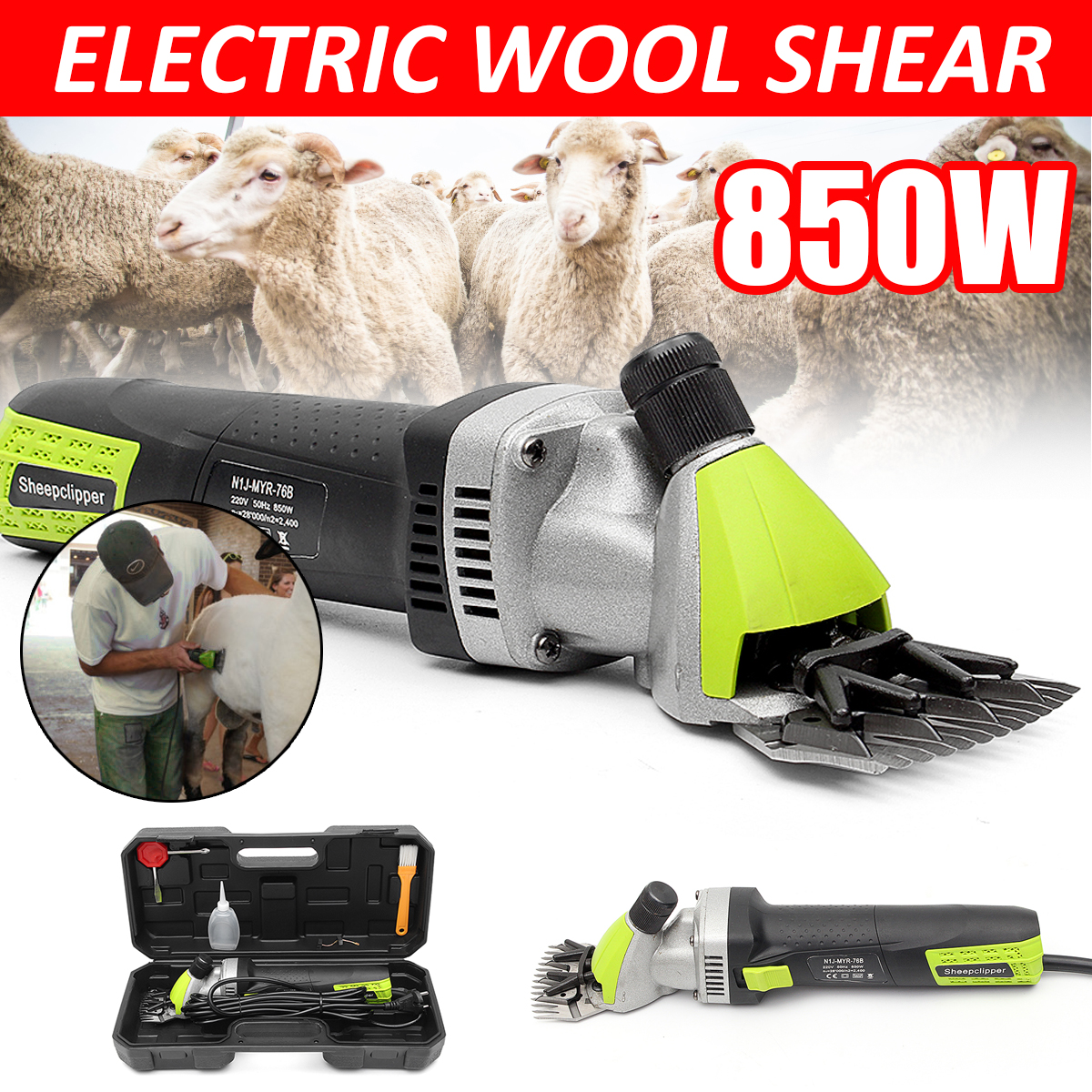 220V 850W Electric Wool Shearing Supplies Sheep Goats Clipper Farm Animal Electric Trimmer Tool for Sheep Shearing Machine new 680w sheep wool clipper electric sheep goats shearing clipper shears 1 set 13 straight tooth blade comb
