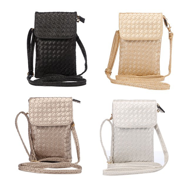 Universal Bar Weave Female Holster Bag Vertical Wallet Phone Cover Case Belt Pouch For Samsung iPhone Cell Phone