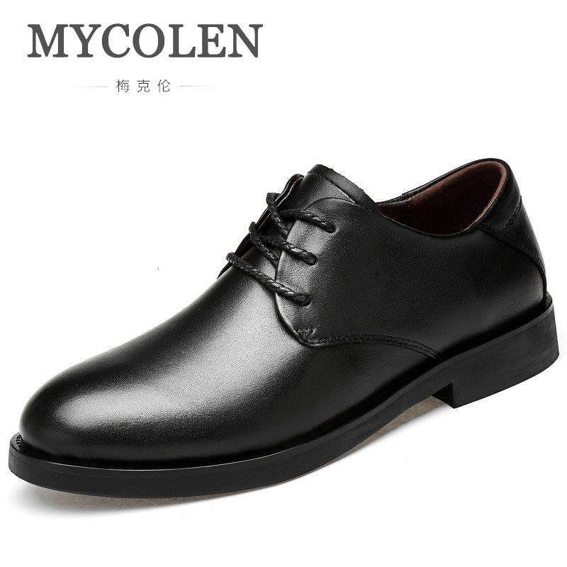 MYCOLEN New 2018 Men Business Formal Dress Shoes Men Leather Shoes Lace-Up Round Toe British Style Men Shoes Brown Black men s dress shoes genuine leather cowhide leather pig inner round toe derby style wedding business shoes 2018 new lace up