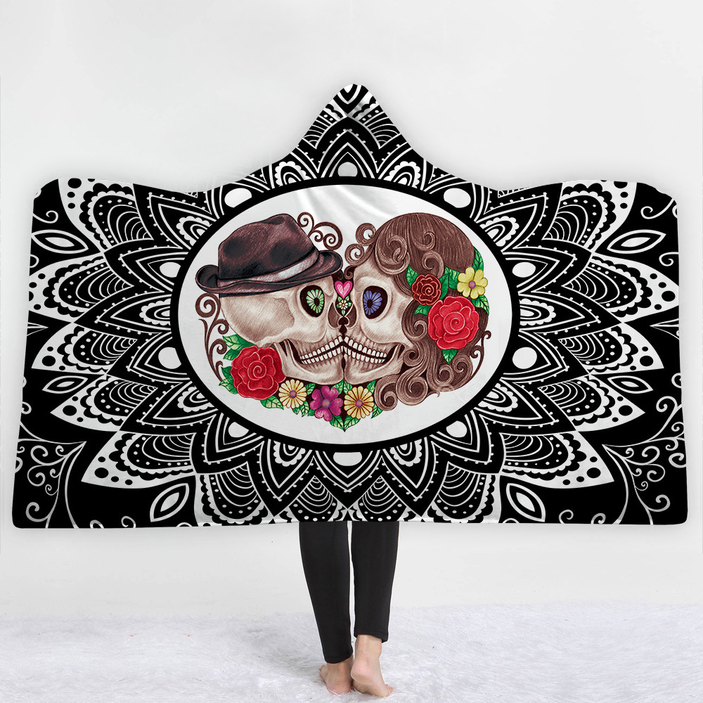 Skull Hooded Blanket For Adults Wearable Warm Blanket For Home Travel Picnic 3D Printed Soft Fleece Throw Blanket For Winter in Blankets from Home Garden