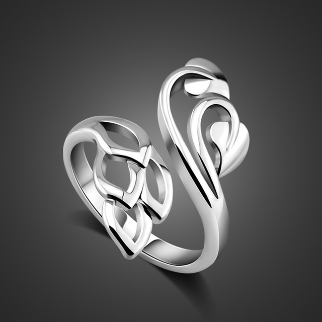 Fashion Beautiful Flower Ring Solid 925 Sterling Silver Woman Ring