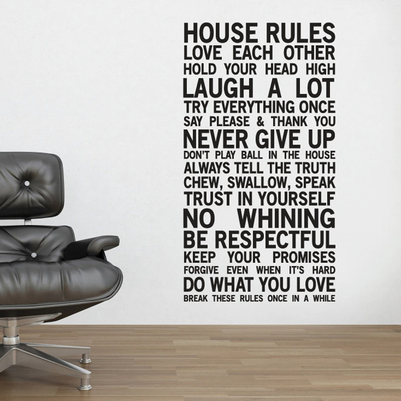 Aliexpresscom  Buy House Rules Wall Stickers Home Decor Family - House rules wall decals