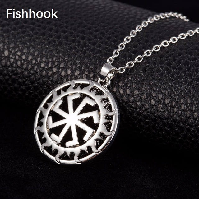 Fishhook Gold & Silver Color Kolovrat Slavic Steampunk Gears Link Chain Russian Sun Wheel Amulet Pendant Necklace