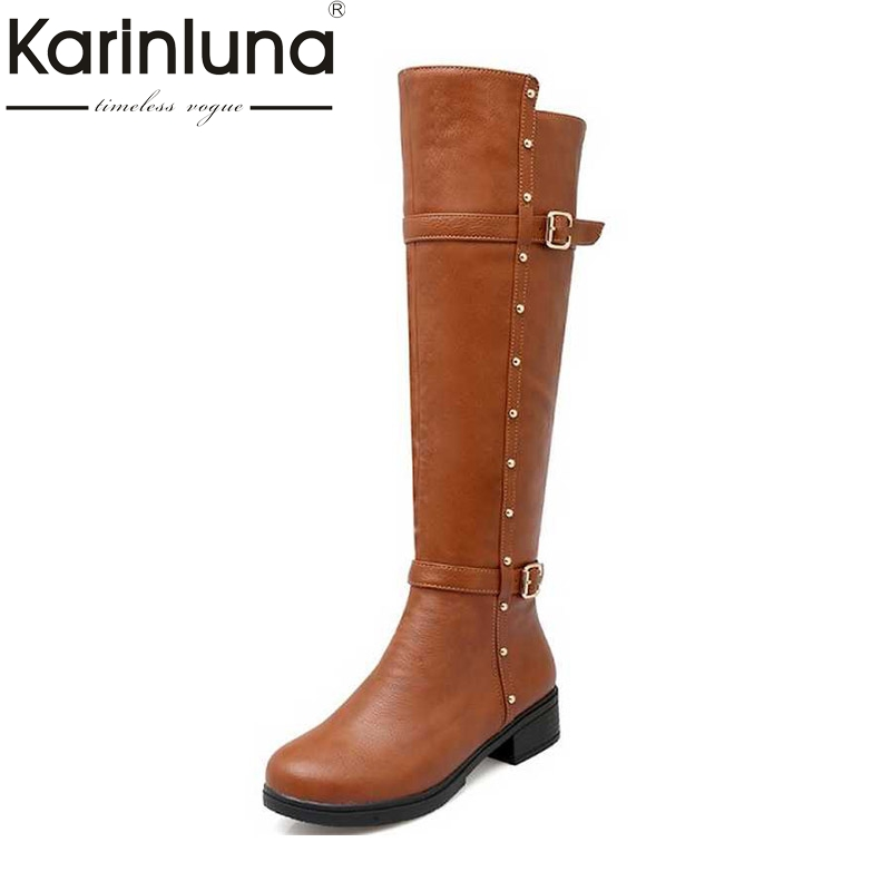Big Size 34-43 Women Knee High Motorcycle Boots Rivets Decoration Buckle Straps Platform Female Shoes Concise Zipper Boots