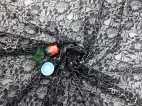 ''Gold / noir dentelle accessoires de vêtement dentelle fleur de tissu de treillis d'or soyeux tissu noir vêtements tissu en dentelle 150 cm de large
