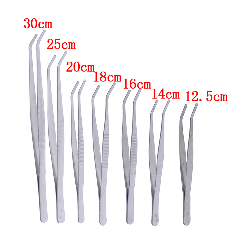 1PC Hot New Stainless Multifuctional Steel Elbow Tweezers Aquarium Clear Clip Tool Medical Repair Tools 12.5/14/16/18/20/25/30cm