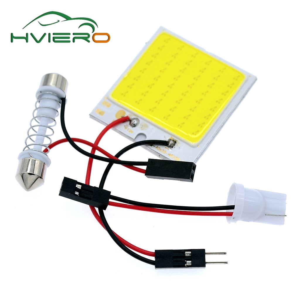 Promotion 2Pcs White T10 48Smd Cob Led Panel Car Auto Interior Reading Map Lamp Bulb Light Dome Festoon Bulb 3Adapter DC 12v 1set t10 festoon 18 24 36 48smd cob car led vehicle panel lamps auto interior reading lamp bulb light dome 3adapter dc 12v