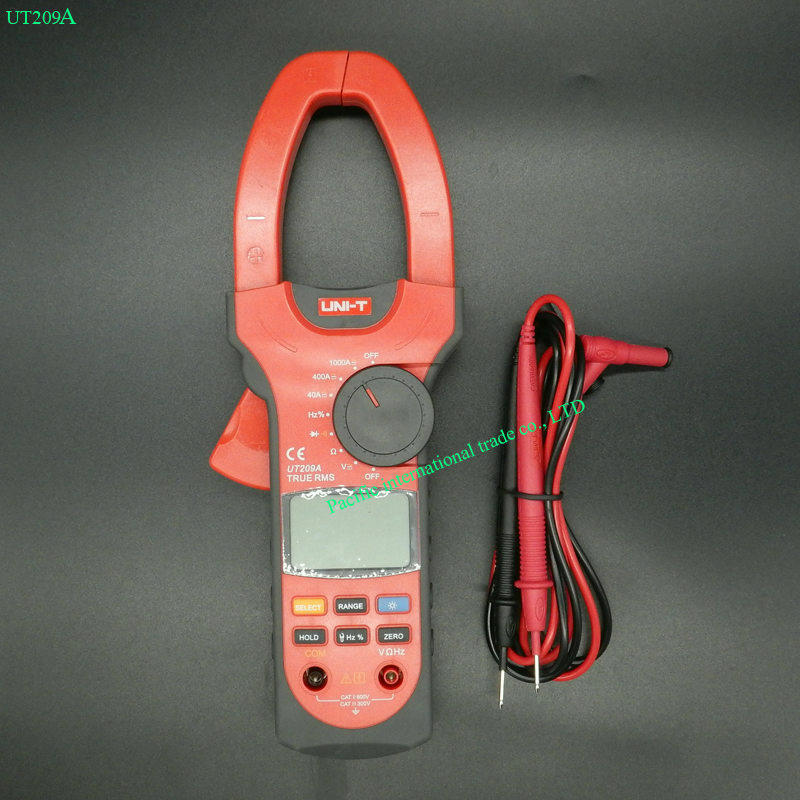 Digital Clamp Meter UNI-T UT209A  Multimeter Professional True-RMS LCD Multifuction  Ohm DMM DC AC Voltmeter AC Ammeter excel dt9205a 3 lcd digital multimeter black orange 1 x 6f22