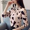 New Arrived 2018 Spring Blouse Women Printed Shirt Female Long Puff Sleeve Chiffon Shirt Fashion Loose